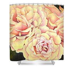 Golden Roses Shower Curtain by Rowena Finn
