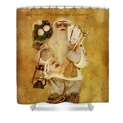 Golden Santa Card 2015 Shower Curtain