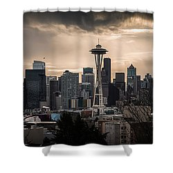 Golden Seattle Shower Curtain