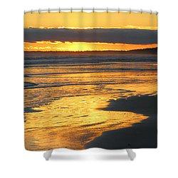 Golden Shore Shower Curtain by Rosanne Jordan