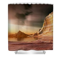 Golden Shores Shower Curtain by Corey Ford