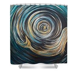Golden Sirena Mermaid Spiral Shower Curtain