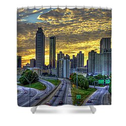 Shower Curtain featuring the photograph Golden Skies Atlanta Downtown Sunset Cityscape Art by Reid Callaway