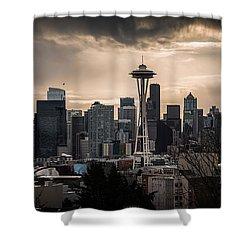 Golden Sky Seattle Shower Curtain by Chris McKenna