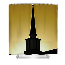 Golden Sky Steeple Shower Curtain by CML Brown