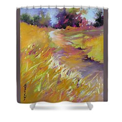 Shower Curtain featuring the painting Golden Splendor by Rae Andrews