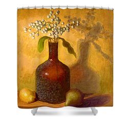 Shower Curtain featuring the painting Golden Still Life by Joe Bergholm