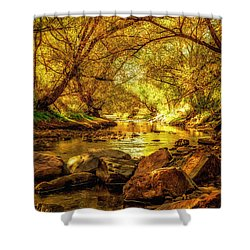 Golden Stream Shower Curtain