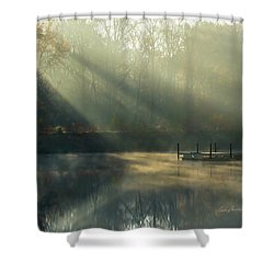 Golden Sun Rays Shower Curtain