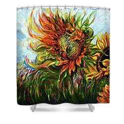 Golden Sunflowers - Harsh Malik Shower Curtain