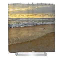 Golden Sunlight On Peaceful Early Morning Beach  Shower Curtain