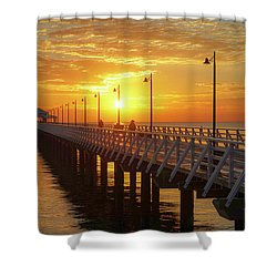 Golden Sunrise Down By The Bay Shower Curtain