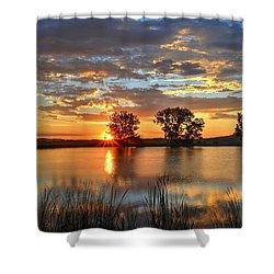 Golden Sunrise Shower Curtain by Fiskr Larsen