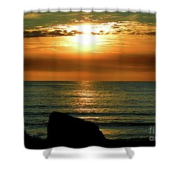 Shower Curtain featuring the photograph Golden Sunset At The Beach IIi by Mariola Bitner