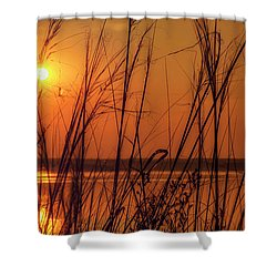 Golden Sunset At The Lake Shower Curtain