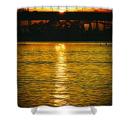 Shower Curtain featuring the photograph Golden Sunset Behind Bridge by Mariola Bitner