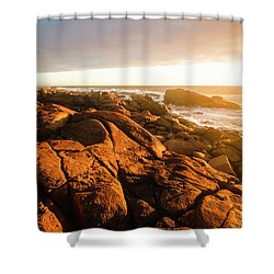Golden Sunset Coast Shower Curtain