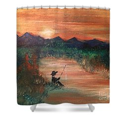 Shower Curtain featuring the painting Golden Sunset by Denise Tomasura