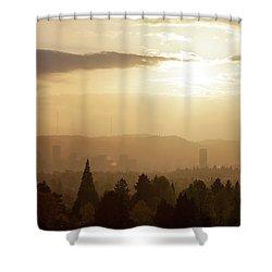 Golden Sunset Over Portland Skyline Shower Curtain by David Gn