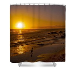 Shower Curtain featuring the photograph Golden Sunset Walk On Malibu Beach by Jerry Cowart