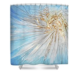 Shower Curtain featuring the mixed media Golden Sunshine by Angela Stout