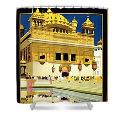 Golden Temple Amritsar India - Vintage Travel Advertising Poster Shower Curtain