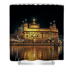 Golden Temple Punjab India Night With Reflection Shower Curtain