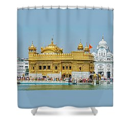 Golden Temple Punjab India With Clear Sky Shower Curtain
