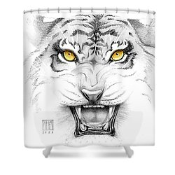 Golden Tiger Eyes Shower Curtain by Melissa A Benson