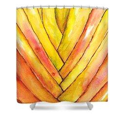 Golden Travelers Palm Trunk Shower Curtain