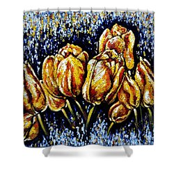 Golden Tulips Shower Curtain by Harsh Malik