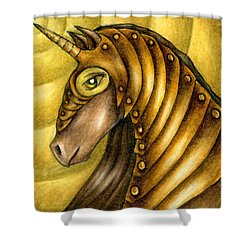 Golden Unicorn Warrior Art Shower Curtain