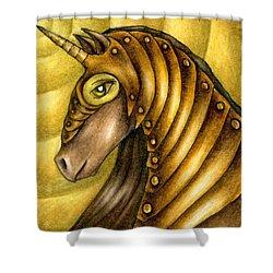Golden Unicorn Warrior Art Shower Curtain