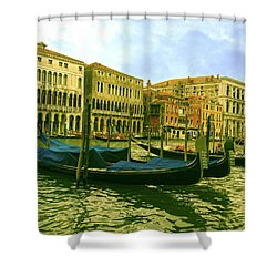 Shower Curtain featuring the photograph Golden Venice by Anne Kotan