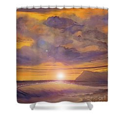 Golden Wave Shower Curtain by Holly Martinson