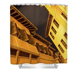 Golden Yellow Night - Chic Zigzags Of Oriel Windows And Serrated Roof Lines Shower Curtain