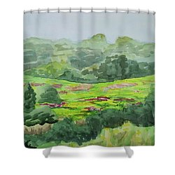 Goldenrod Field Shower Curtain by Bethany Lee