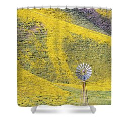 Goldfields And Windmill At Carrizo Plain  Shower Curtain by Marc Crumpler