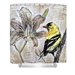 Shower Curtain featuring the painting Goldfinch And Lily by Sheri Howe
