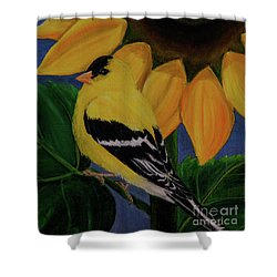 Goldfinch And Sunflower Shower Curtain