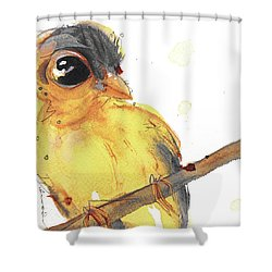 Shower Curtain featuring the painting Goldfinch by Dawn Derman