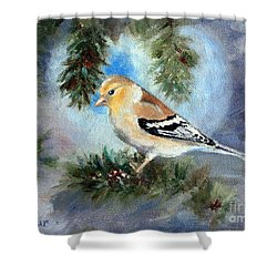 Shower Curtain featuring the painting Goldfinch In A Tree by Brenda Thour