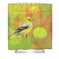 Shower Curtain featuring the photograph Goldfinch Watercolor Photo by Heidi Hermes