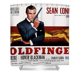 Goldfinger James Bond French Lobby Poster Painterly Shower Curtain by Daniel Hagerman