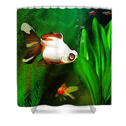 Goldfish Aquarium Shower Curtain by John Wills