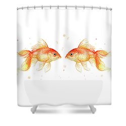 Goldfish Love Watercolor Shower Curtain