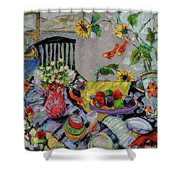 Goldfish Rumble Shower Curtain by Sharon Furner