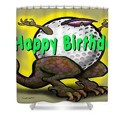 Golf A Saurus Birthday Shower Curtain by Kevin Middleton