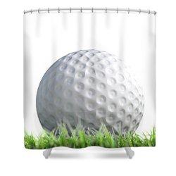 Golf Ball Resting On Grass Shower Curtain