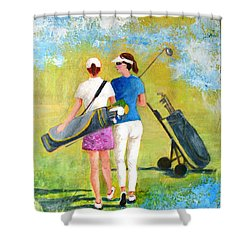 Golf Buddies #1 Shower Curtain by Betty M M Wong